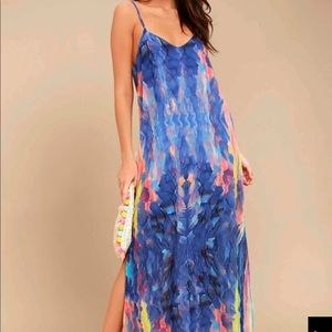 Royal Blue Marbled Maxi Dress